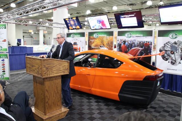 Elio Motors founder Paul Elio at New York Auto Show press conference, Apr 2015