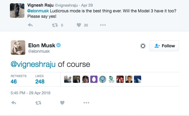 Elon Musk confirms Ludicrous Mode for the Model 3 via Twitter