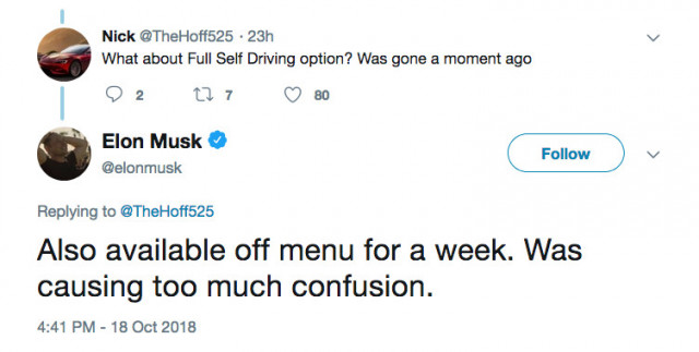 @elonmusk confirmation of Full Self Driving removal from configurator