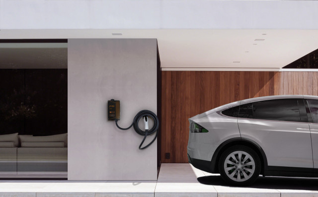 eMotorWerks JuiceBox wall mount charging Tesla Model X