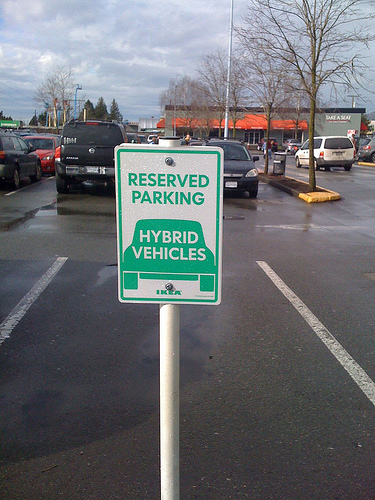 Empty hybrid parking space at Ikea, by Flickr user jennmae