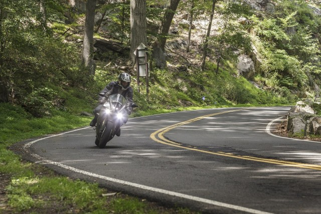 Energica Ego electric motorcycle, test ride, Bear Mountain, NY, July 2014 [photo: Mark Jenkinson]