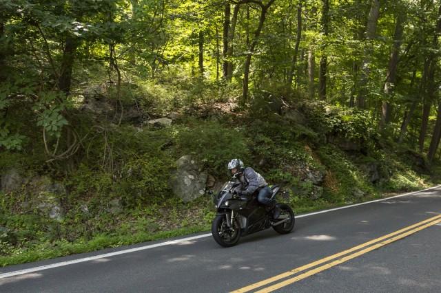 Energica Ego electric motorcycle, test ride, Bear Mountain, NY, July 2014 [photo: Mark Jenkinson]