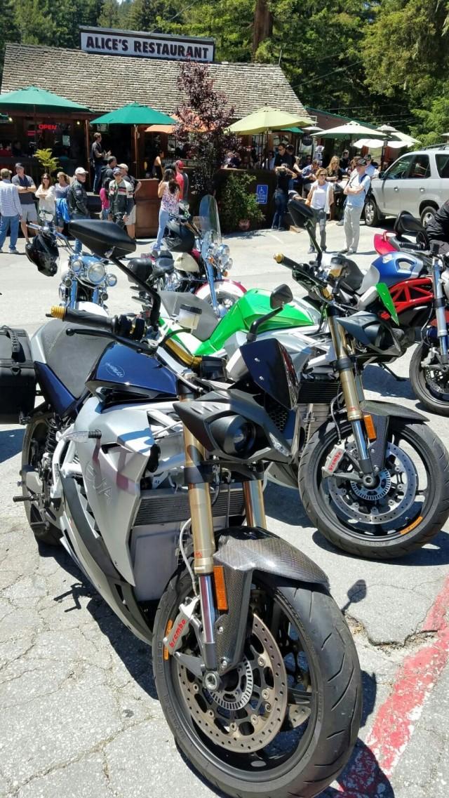 Energica Eva at biking mecca Alice's Restaurant on California 1 tour from LA to San Francisco