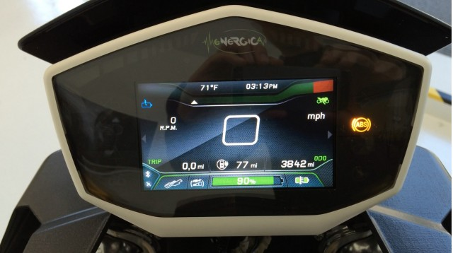Energica Eva electric motorcycle dashboard, shown during test ride, San Francisco Bay Area