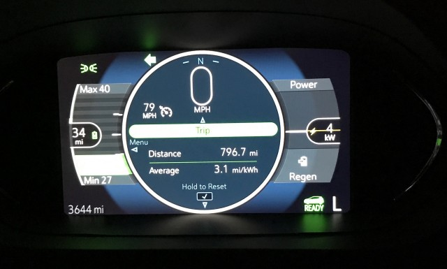Energy efficiency and distance covered in 2017 Chevrolet Bolt EV road trip by owner Dawn Hall