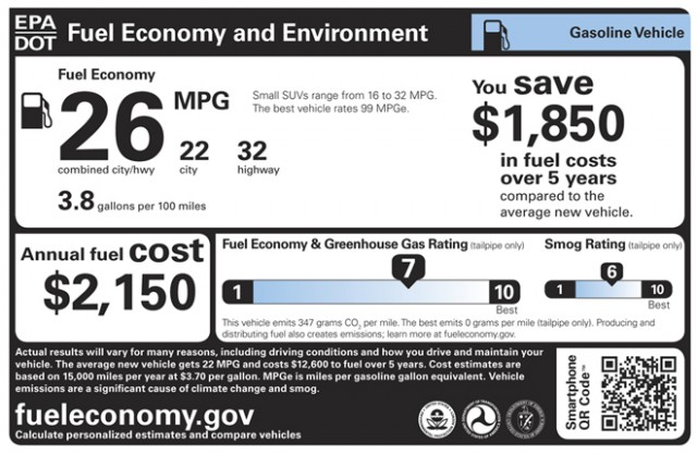 epa gas mileage label window sticker design used starting in model year