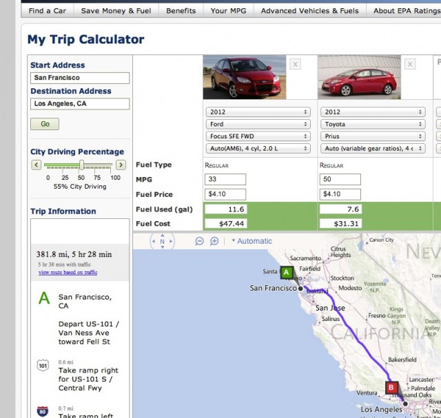 Epa S My Trip Calculator