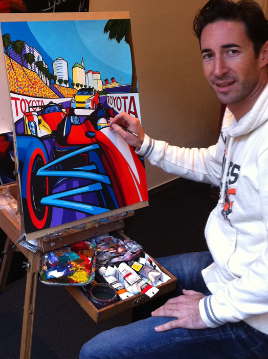 Erwin Dazelle at his easel - photo courtesy Toyota Grand Prix of Long Beach