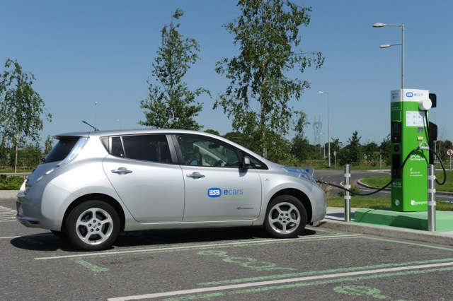 Nissan Leaf electric car recharging at ESB ecars charging point in Ireland