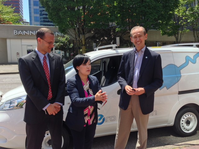 Evan Fulton and Jeannie Lam, of Nissan North America, with PGE's Charlie Allcock