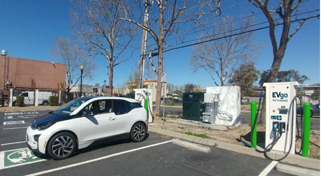 EVgo charging station in Union City, California with resused BMW i3 battery backup