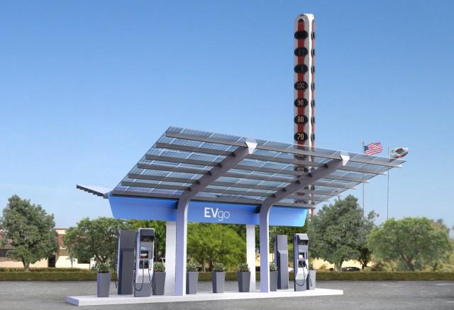 EVgo DC fast-charging site in Baker, California