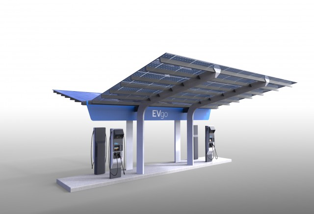 EVgo DC fast-charging site in Baker, California