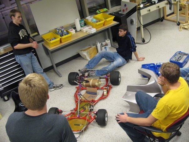evGrandPrix vehicle team deciding where to put the motor...