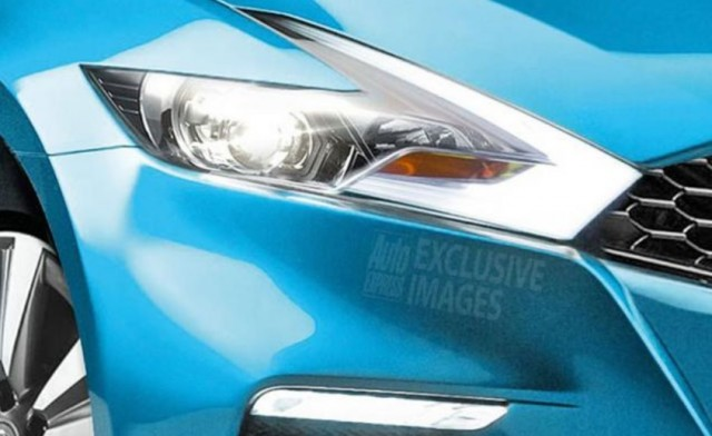 Excerpt of rendering by Auto Express of possible design for 2017 Nissan Leaf electric car