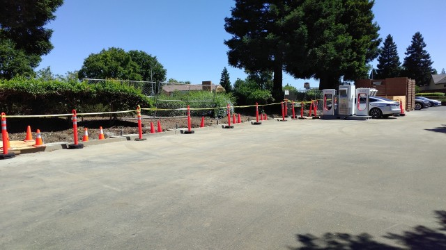 Expansion of Tesla Supercharger site in Vacaville, California [photo: George Parrott]