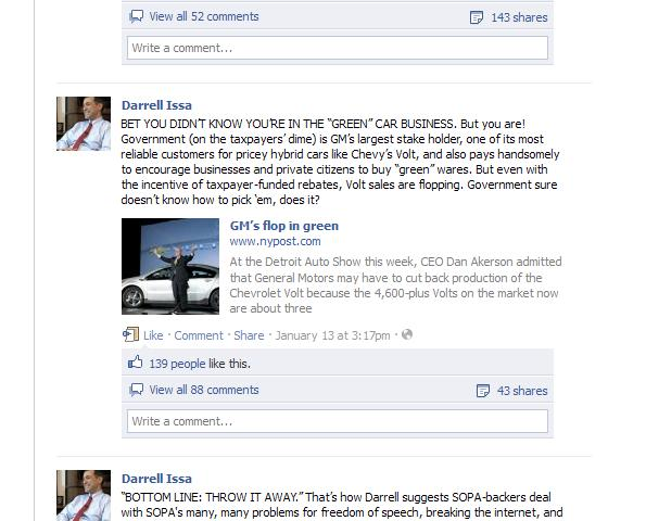 Facebook post by Rep. Darrell Issa (R-CA) concerning Chevrolet Volt electric car, January 2012