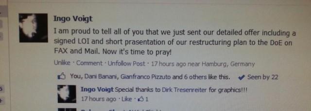 Facebook post describing offer for Fisker Automotive, by Ingo Voight, September 11, 2013