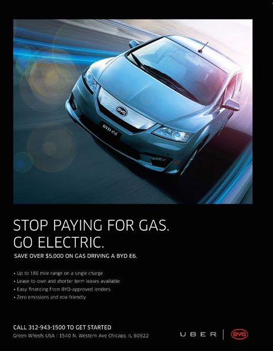 Facebook promotion offering BYD e6 electric cars for lease to fleet drivers in Chicago, Mar 2015
