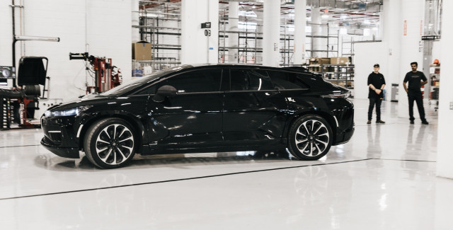 Faraday Future FF 91 first pre-production prototype in Hanford, California factory