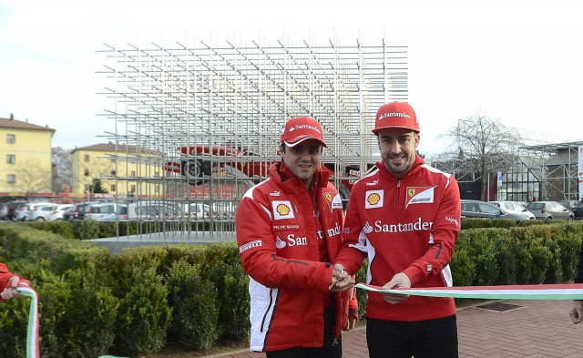 Felipe Massa and Fernando Alonso help inaugurate new sculpture