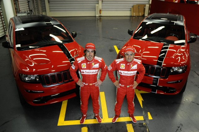Fernando Alonso, Felipe Massa and their new company cars.