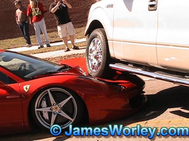 Ferrari 458 Italia gets run over by Ford F-150 pickup truck