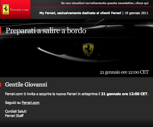 Ferrari 612 Scaglietti successor teased on invitation