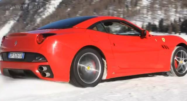 Ferrari California on the snow fields of St. Moritz, Switzerland