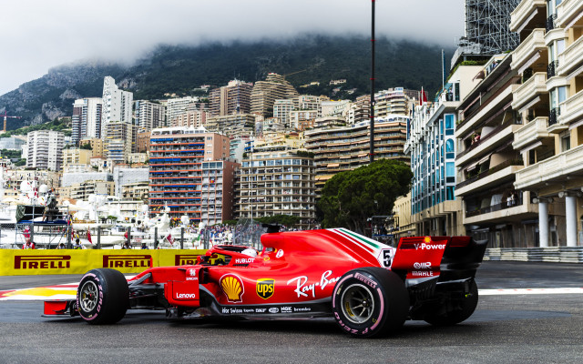Ferrari during Thursday practice at the 2018 Formula 1 Monaco Grand Prix