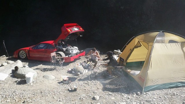 Ferrari F40 goes camping, barbecues, is awesome.