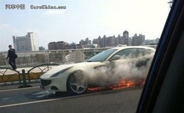 Ferrari FF on fire on Chinese highway - image courtesy of CarsChina.com
