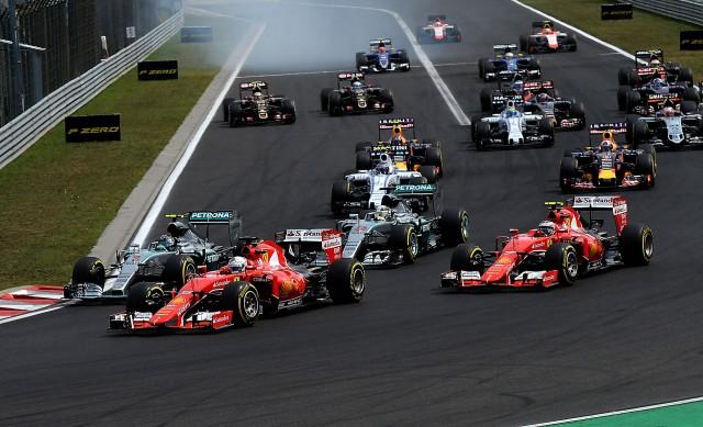 Ferrari in the lead at the 2015 Formula One Hungarian Grand Prix
