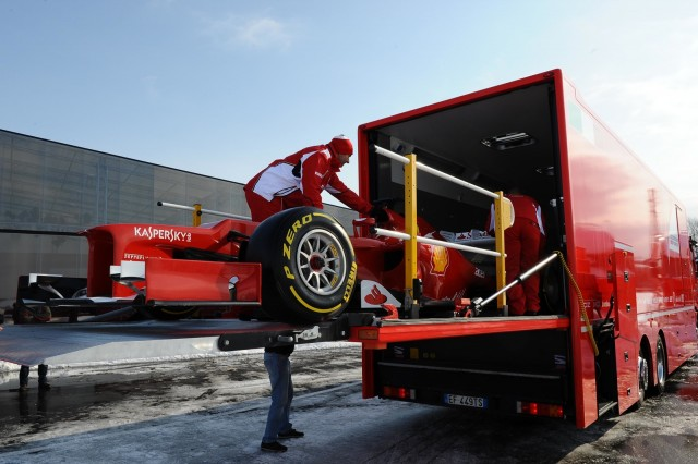 Ferrari prepares to test its F2012 F1 car - image courtesy of Ferrari
