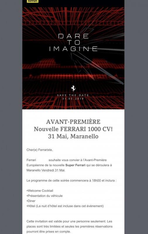 Invitation for Ferrari supercar reveal, May 31