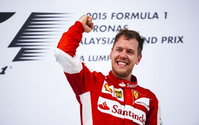 Ferrari's Sebastian Vettel after winning the 2015 Formula One Malaysian Grand Prix