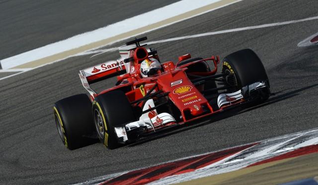 Ferrari's Sebastian Vettel at the 2017 Formula One Bahrain Grand Prix