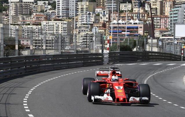 Ferrari's Sebastian Vettel at the 2017 Formula One Monaco Grand Prix