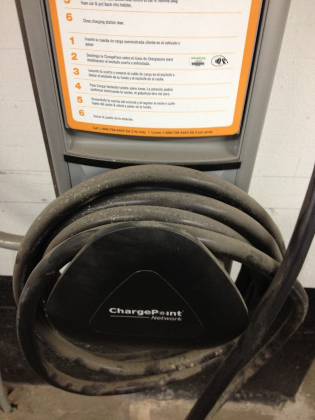 Filthy cable at public electric-car charging station [photo: Tom Moloughney]
