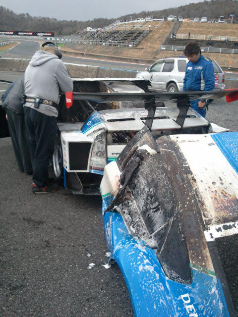 Fire damage to the APR Racing Prius GT. Image: APR Racing