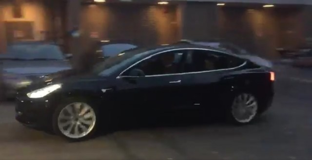 First release candidate Tesla Model 3 electric car, from video tweeted by Elon Musk, March 2017