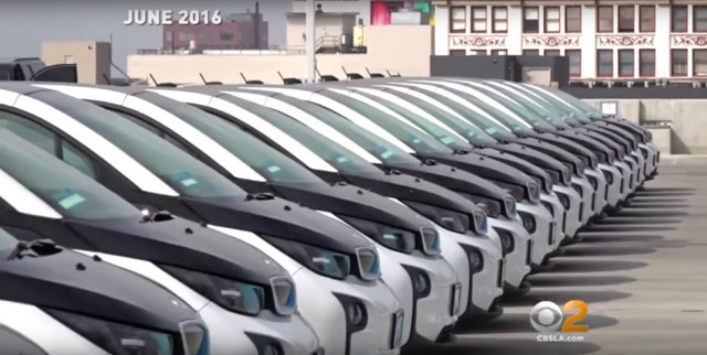 Footage from June 2016 LAPD announcement of lease for 100 BMW i3 electric cars [CBS Channel 2, LA]