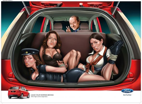 Ford Figo ad featuring former Italian Prime Minister Silvio Berlusconi & several bound women