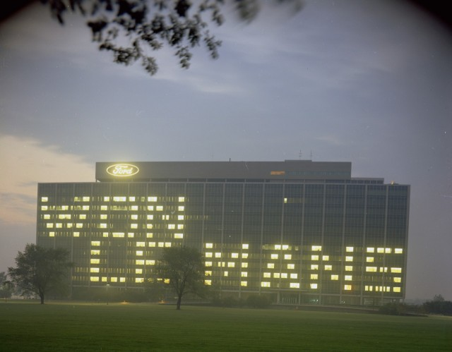Ford headquarters lit up to celebrate 1967 Le Mans win