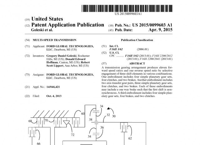 Ford patent documents for 11-speed automatic transmission