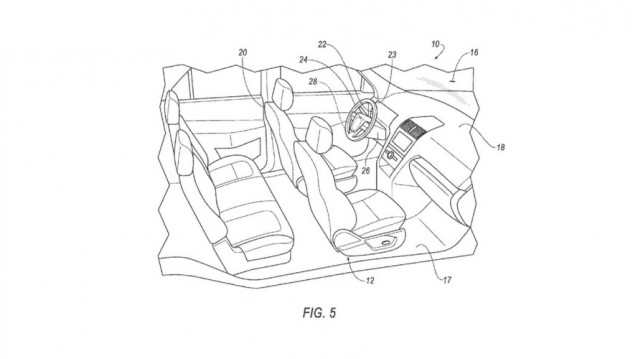 Ford removable steering wheel and pedals patent