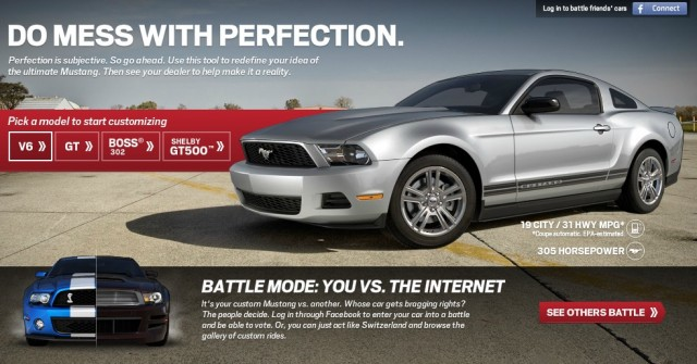 Ford's new Mustang customizer with 'battle mode'