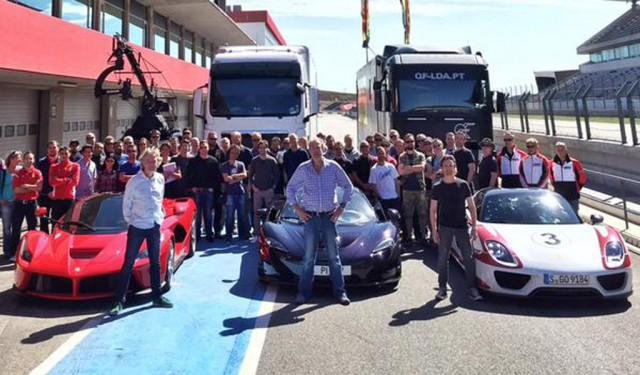 Former 'Top Gear' hosts with the Ferrari LaFerrari, McLaren P1 and Porsche 918 Spyder