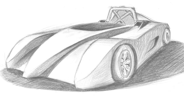 The RMIT Fomula H car design sketch reveals the racer's wheel-to-wheel intentions